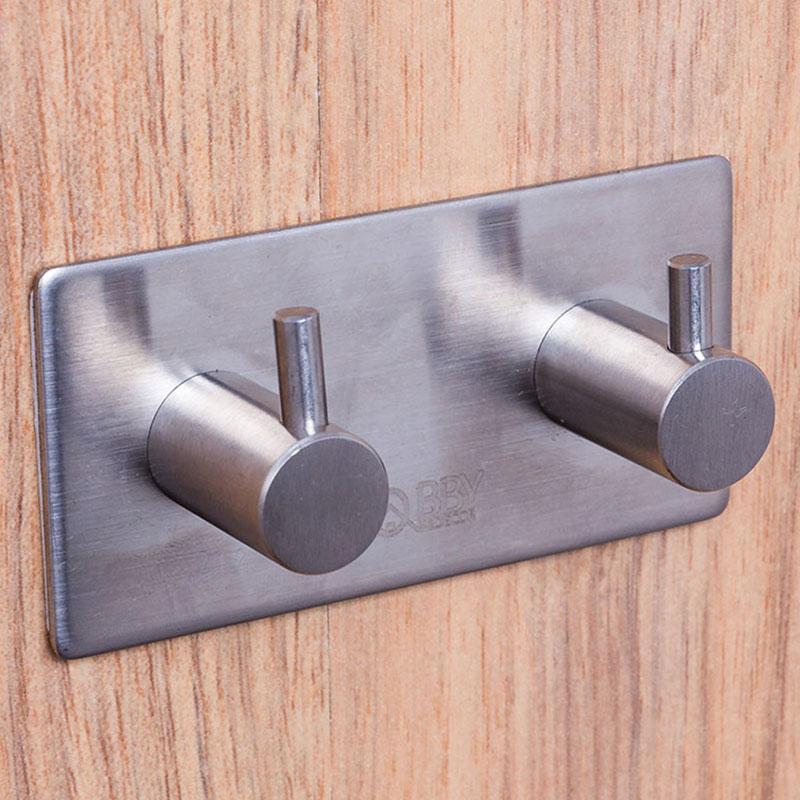 Móc Inox 304 dán tường gạch men - Móc treo đồ 2 chấu có sẵn keo dán siêu dính - HOBBY 2TV160