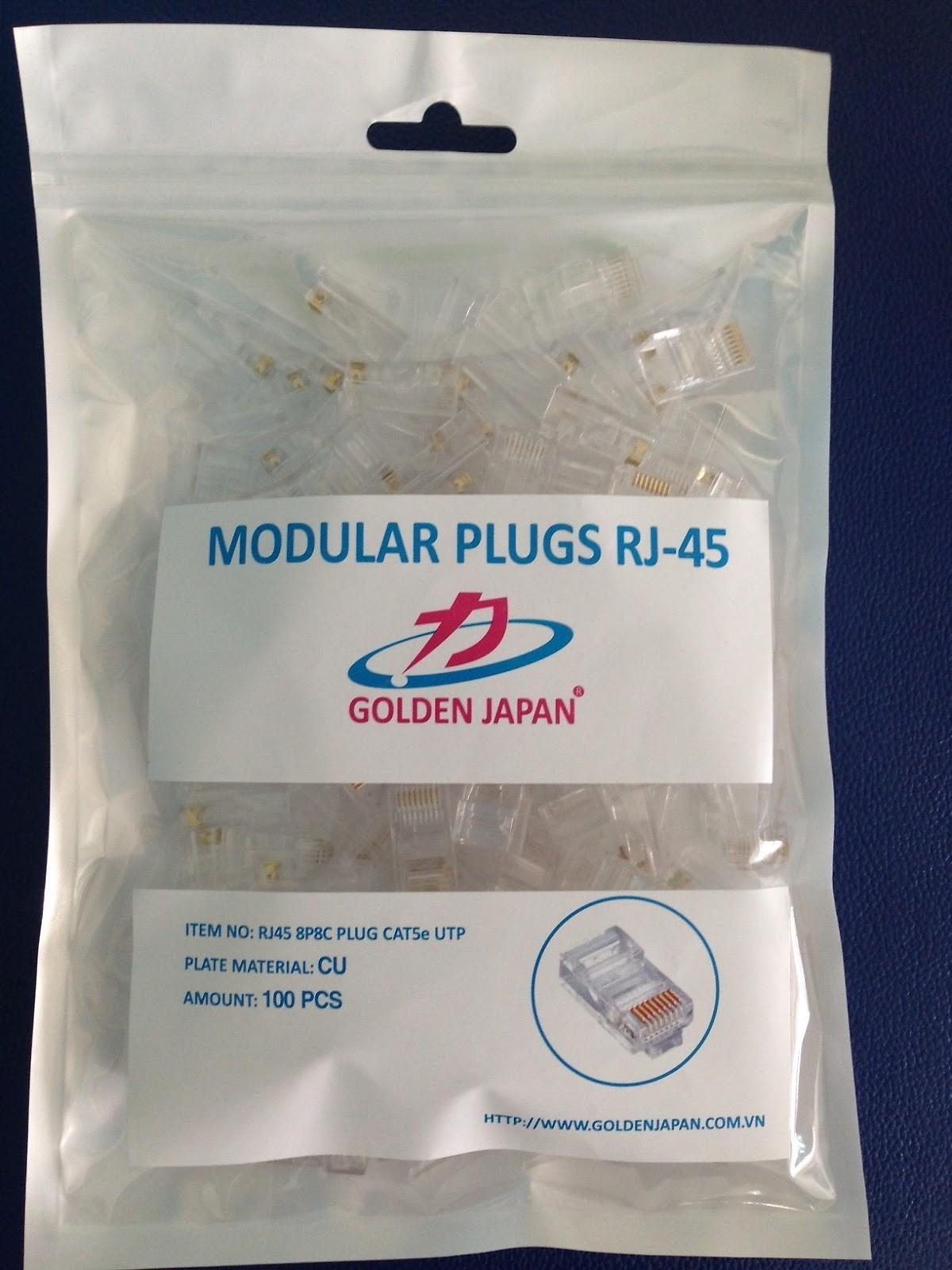 Hạt mạng RJ45 Golden Japan (100 hạt chân đồng) - Hàng Nhập Khẩu