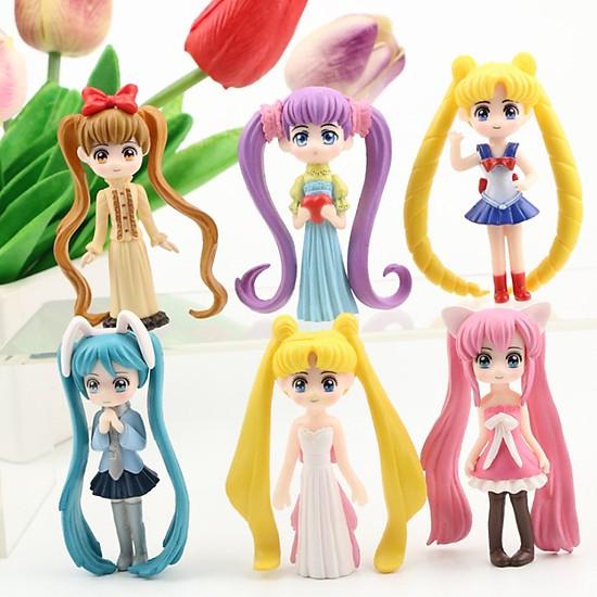 Sét 6 Mô Hình Thủy Thủ Mặt Trăng Sailor Moon ( Mẫu 5 )