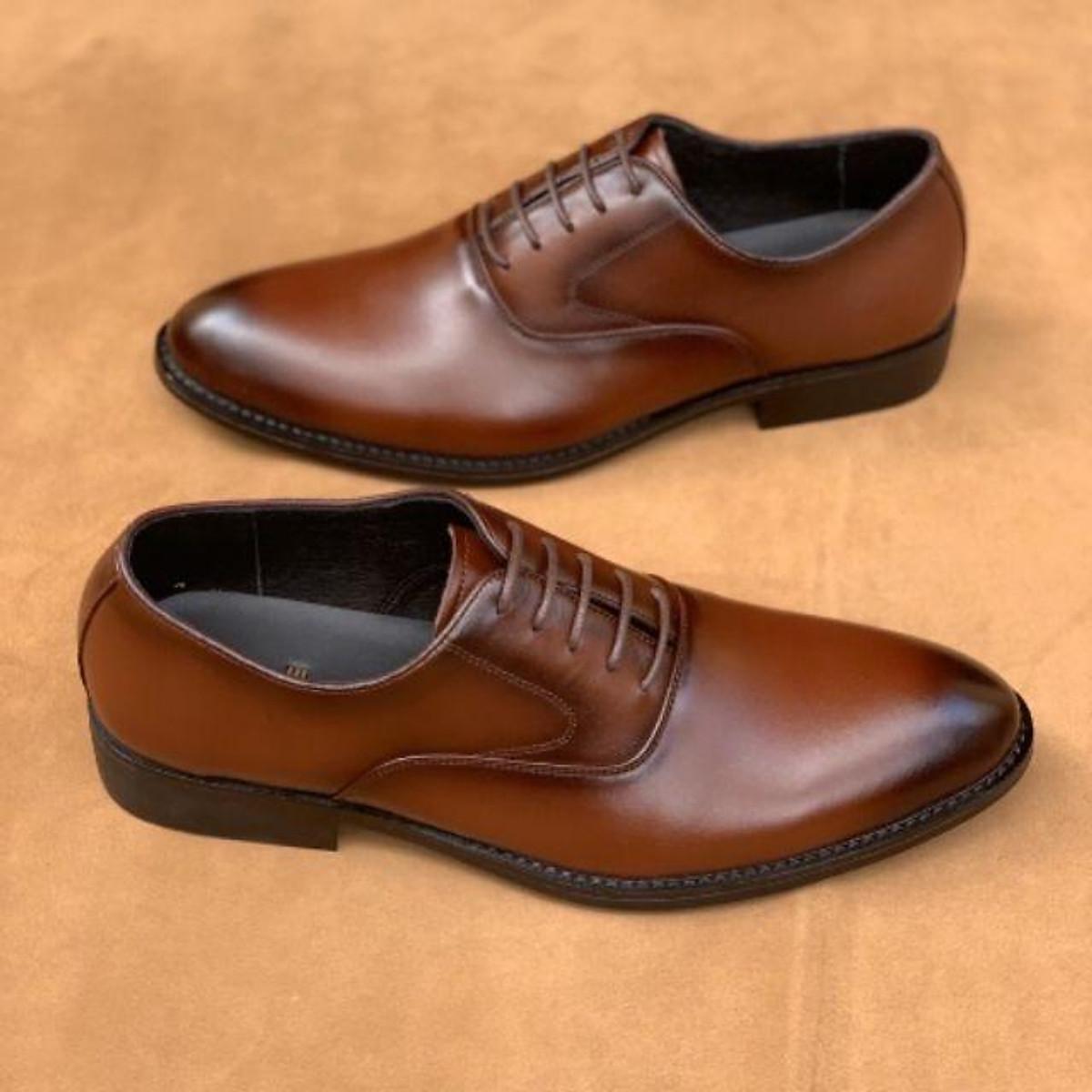 Giày Tây Nam Công Sở Cao Cấp Chất Da Bò Thật Màu Nâu Đẳng Cấp Sang Trọng UDANY - GBD16