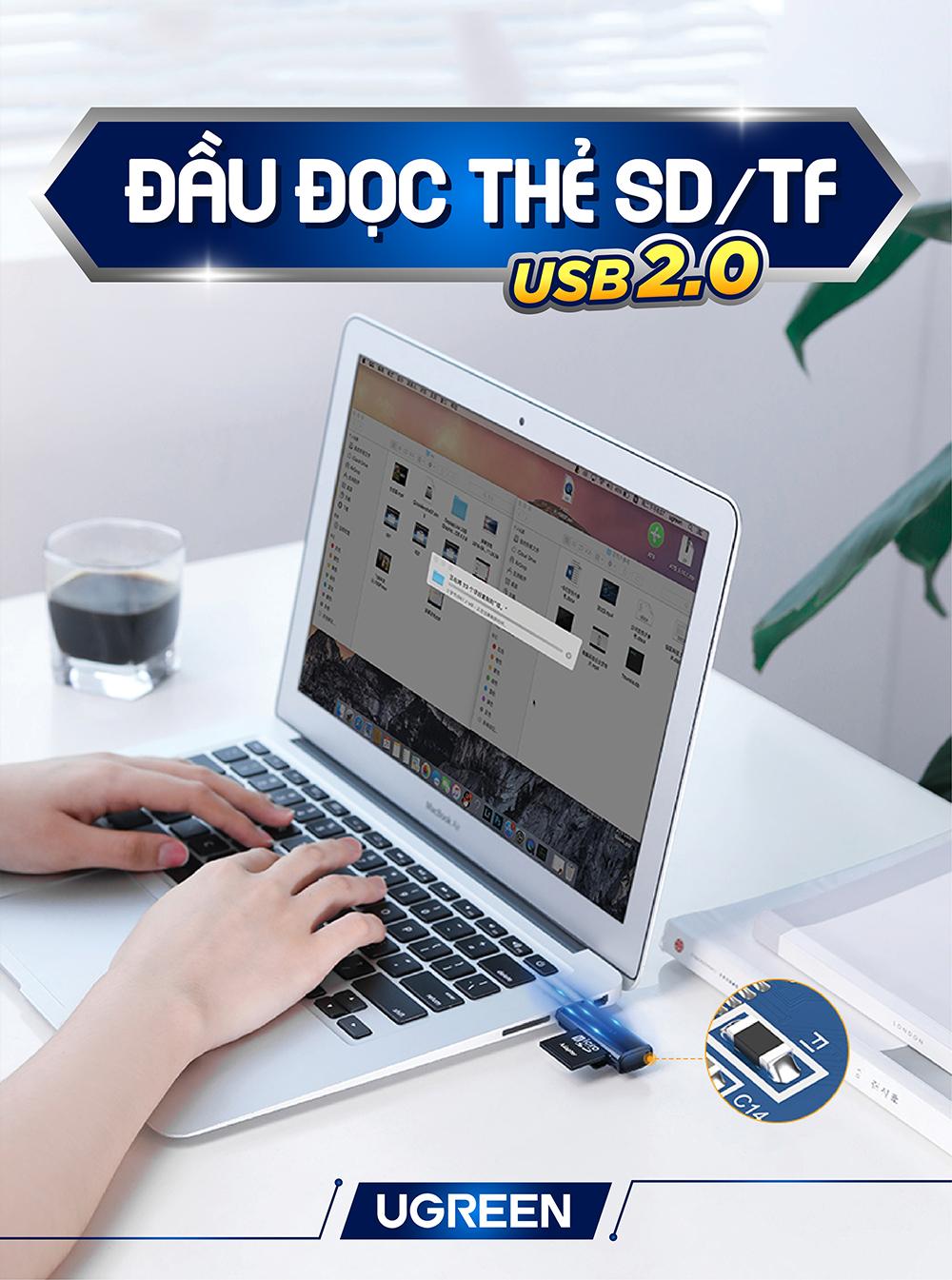 Đầu đọc thẻ SD/TF chuẩn USB 2.0 UGREEN CM180 60721 - Hàng chính hãng