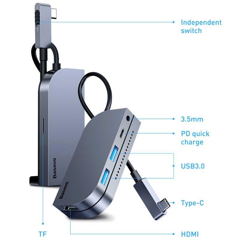 Hub chia cổng sạc nhanh 6 in 1 Type-C hiệu Baseus Angel ra cổng Type-C PD 3.0, USB 3.0, AUX 3.5mm, HDMI chuẩn 4k, SD - Hàng nhập khẩu