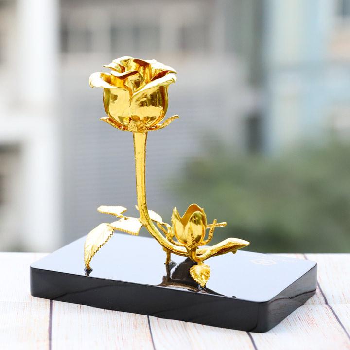 Bông hoa hồng doanh nhân 3 trong 1 mạ vàng