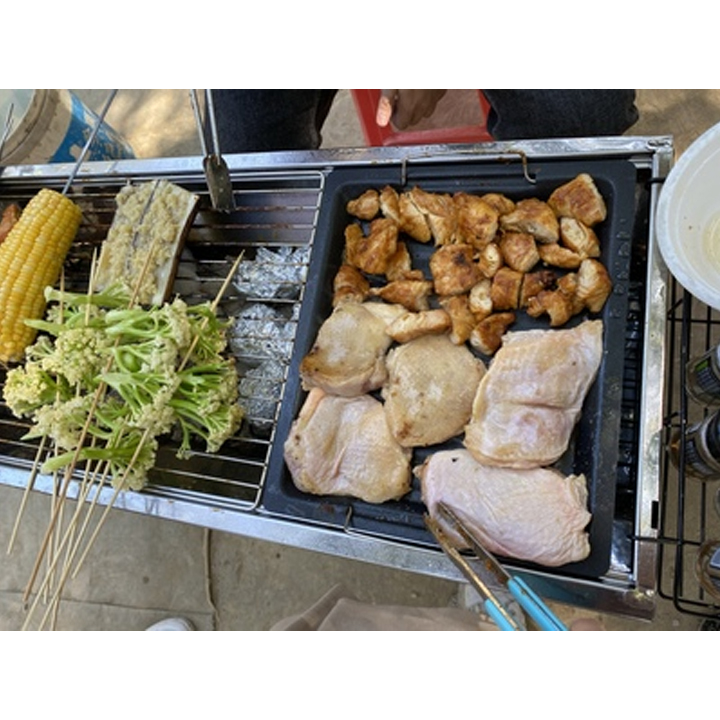 Bếp nướng BBQ ngoài trời dã ngoại nướng than hoa inox có thể gấp gọn chân cao xếp kèm phụ kiện - Hàng chính hãng