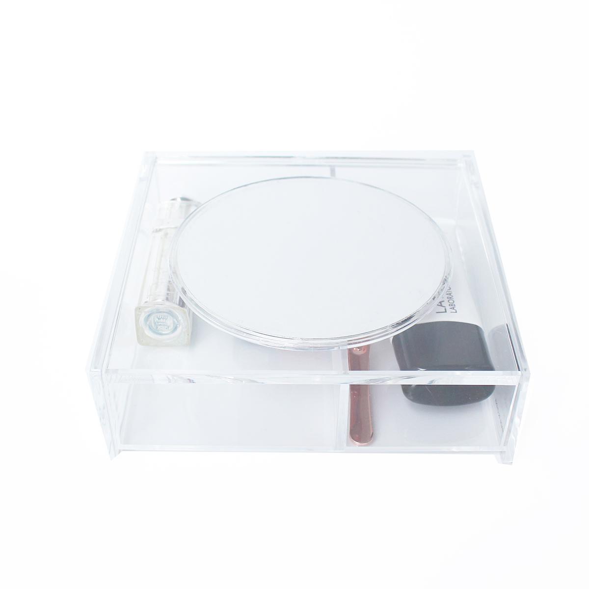 Khay đựng mỹ phẩm đồ trang điểm Nhật Bản trong suốt có nắp và gương soi MINISO tiện lợi - MNS074