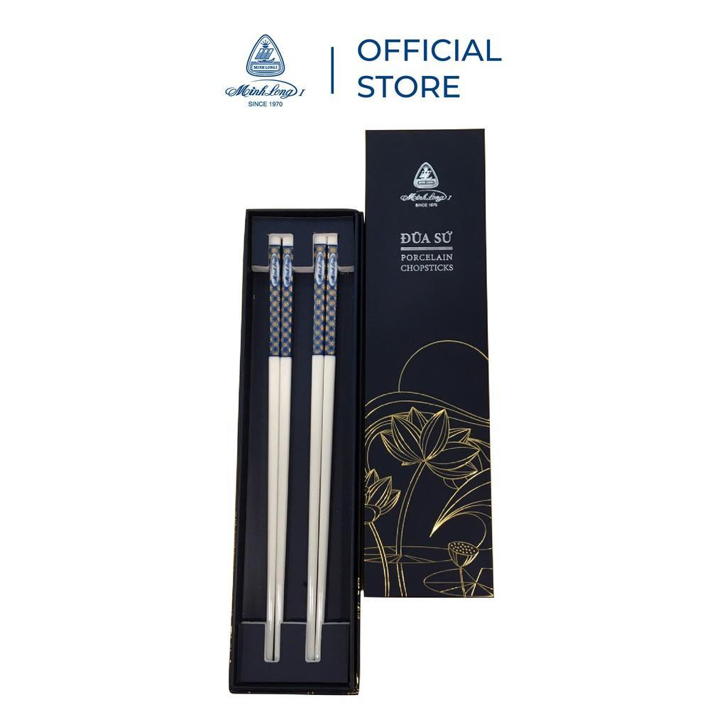 Bộ 02 đôi đũa sứ dưỡng sinh Minh Long 24.4 cm - Xanh - Trang trí vàng - Họa tiết 3 - Hàng Chính Hãng