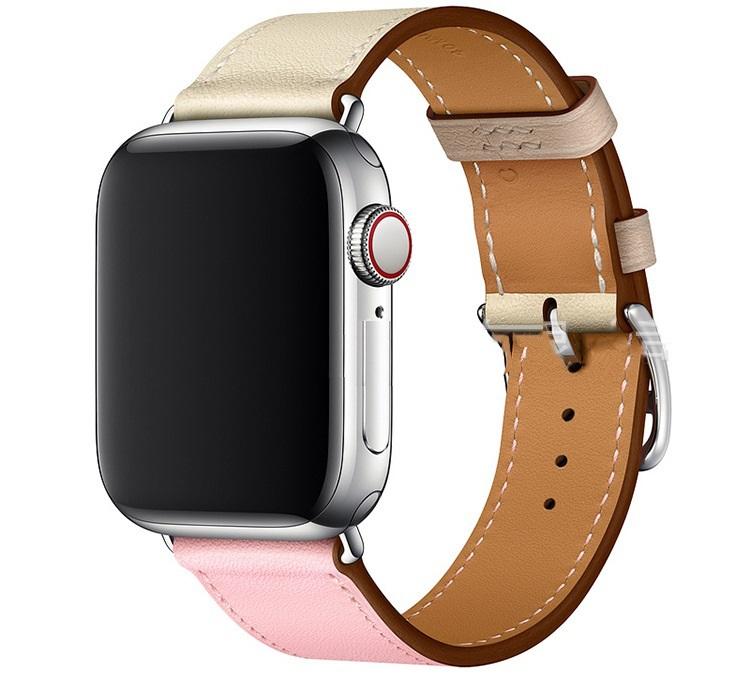 Dây Đeo Màu Hồng Bằng Da Dành Cho Apple Watch Series 44mm