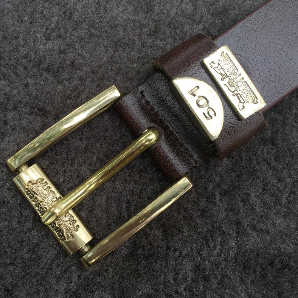 Thắt lưng nam da bò nguyên miếng, dây nịt đầu đồng nguyên khối, da bò thật nguyên miếng TDN01
