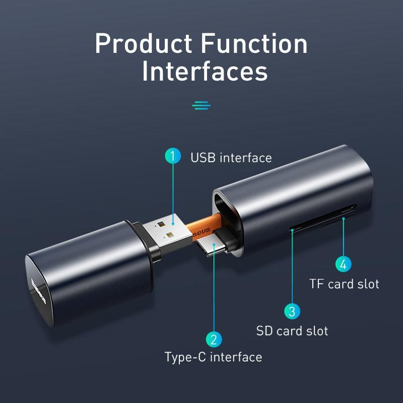 Đầu đọc thẻ nhớ đa năng cổng giao tiếp USB/ Type C Baseus Mini Cabin Card Reader cho Smartphone/ Tablet/ Macbook / Laptop (TF/SD Card Reader) - Hàng chính hãng