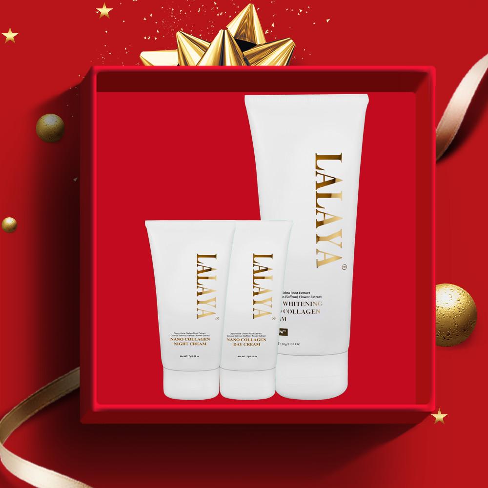 Bộ sản phẩm dưỡng da cao cấp mini 3 món: Kem dưỡng da mặt chuyên sâu ngày, đêm và kem body giúp chăm sóc và bảo vệ da toàn diện  LALAYA - LLYT