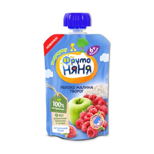Thùng 12 Gói Trái cây nghiền vị táo, mâm xôi và phomai tươi Fruto Nyanya 90g