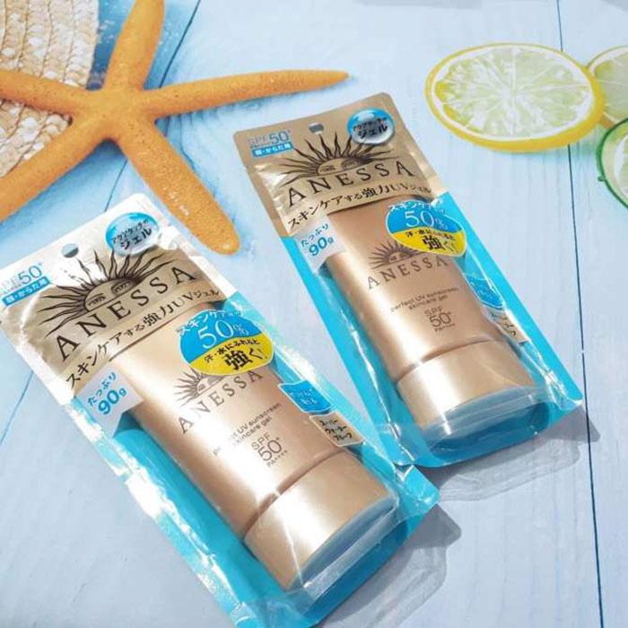 Gel chống nắng Anessa SPF 50+ PA++++ 90g tặng mặt nạ giấy nén Miniso