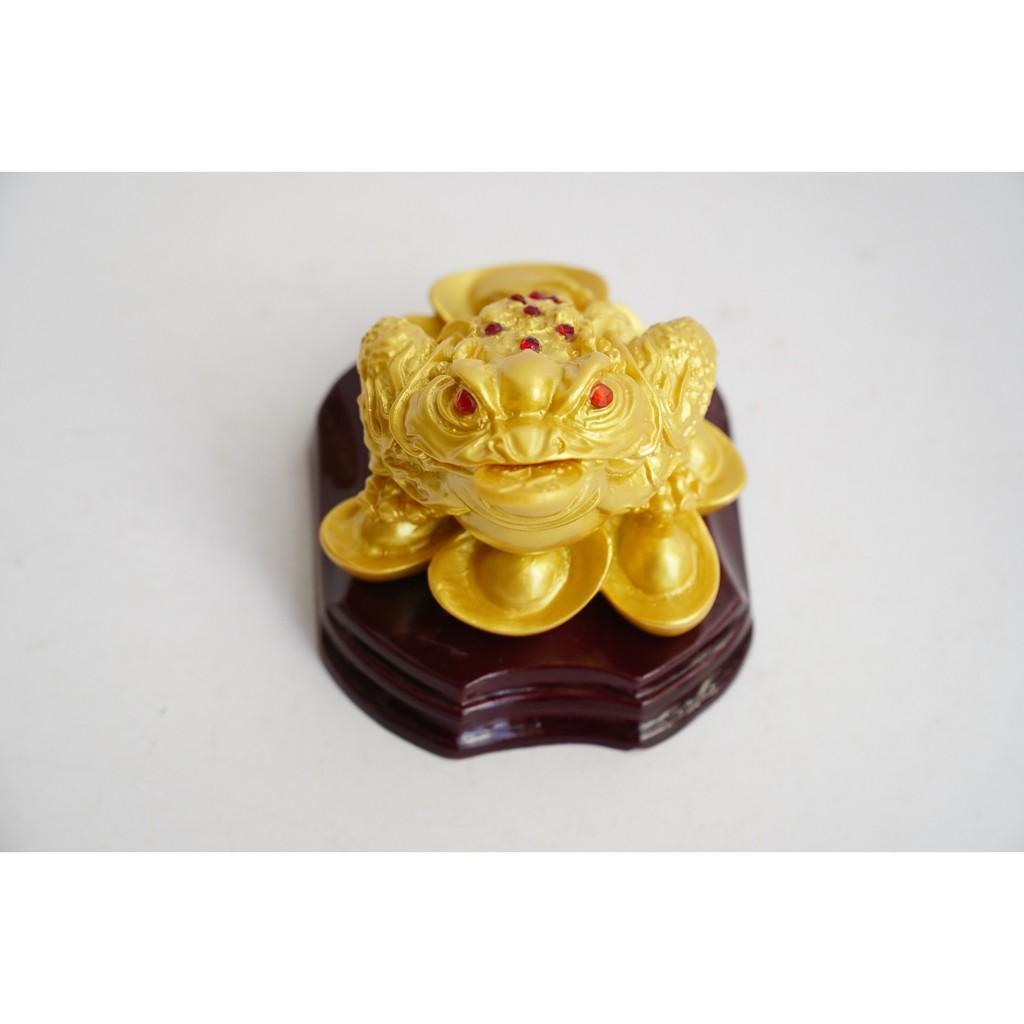 Tượng Cóc Thiềm Thừ nhũ vàng ngậm tiền tài lộc - Cao 7cm