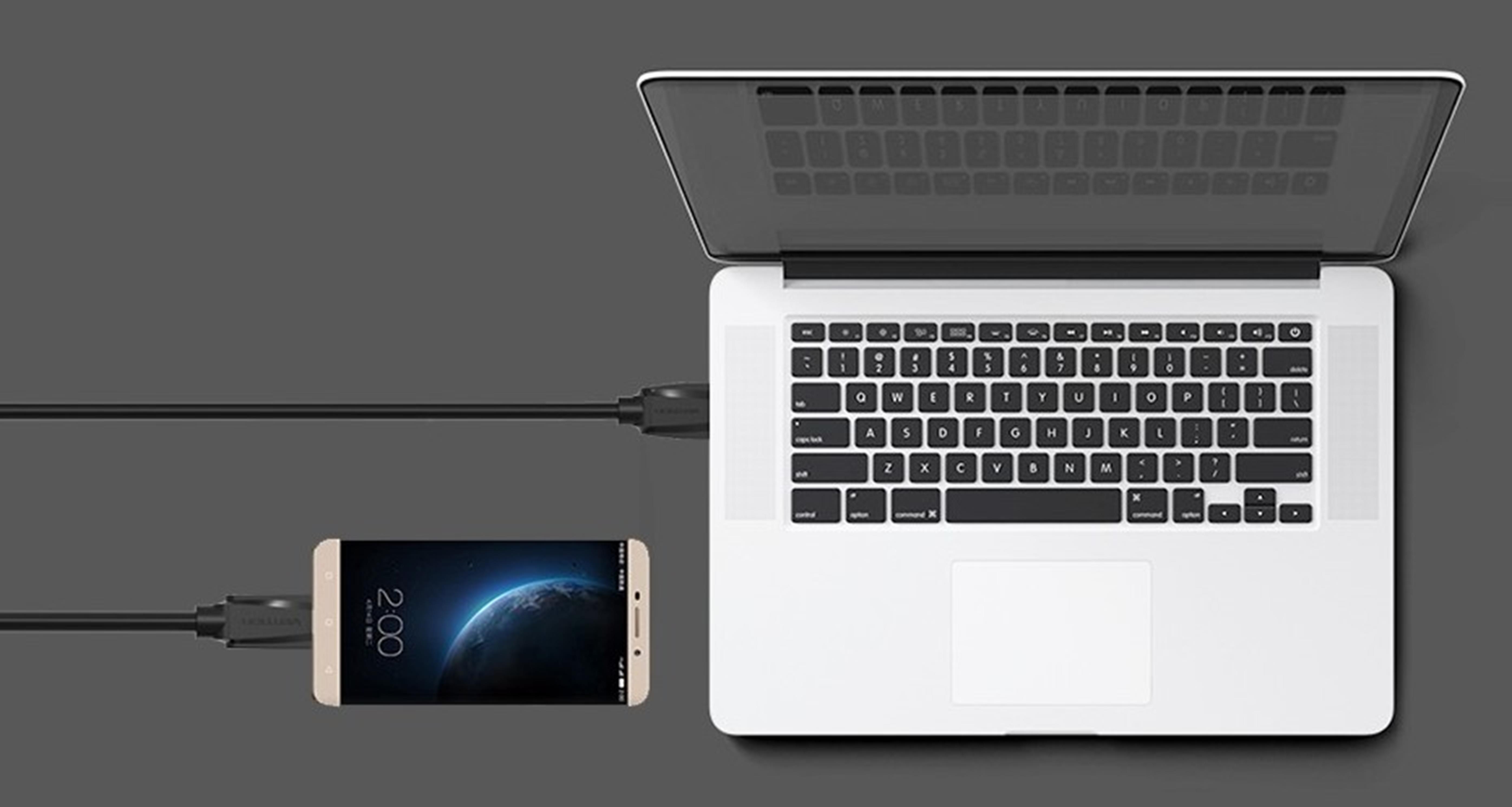 Cáp USB 2.0 sang USB 2.0 Type C truyền dữ liệu và sạc lõi thuần đồng bọc nhôm chống nhiễu VENTION VAS-A46-B100 1m (Đen) - Hàng nhập khẩu