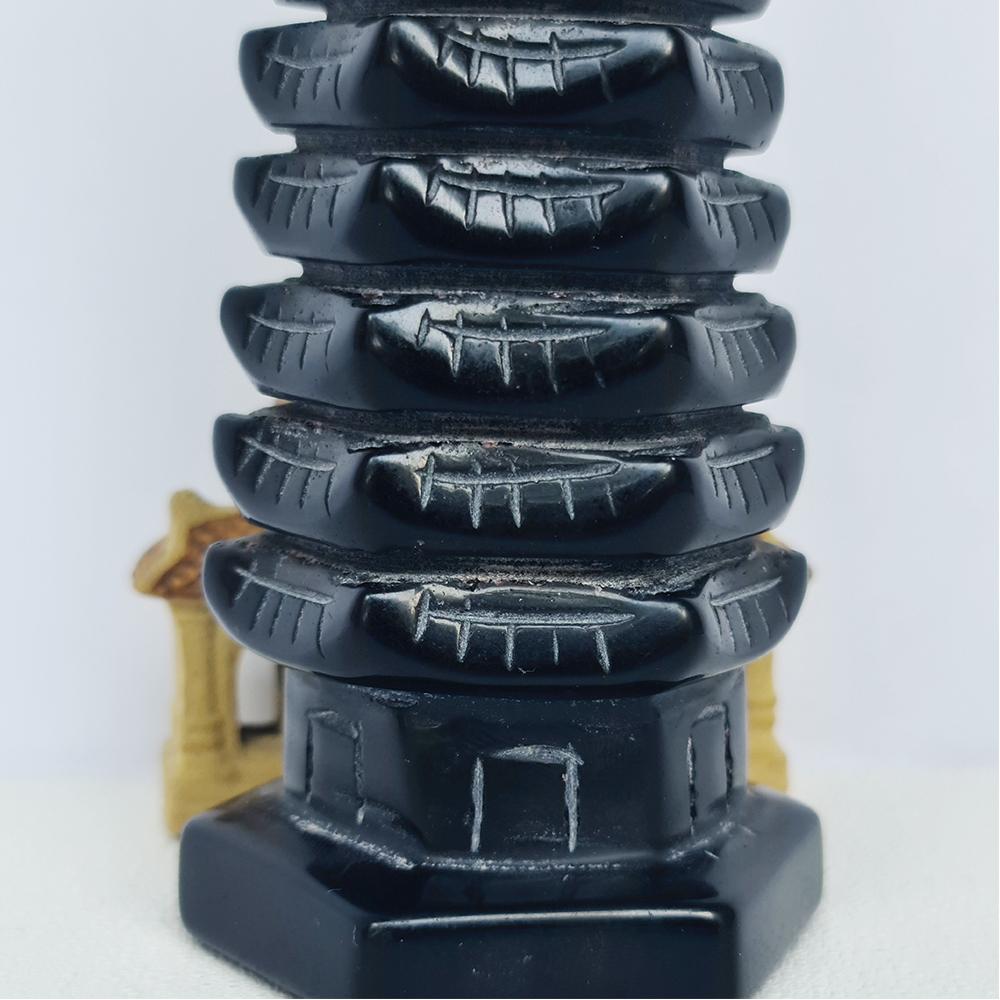 Tháp Văn Xương Đá Obsidian Đen - Núi Lửa Đen 9 tầng - Mx - 16cm - Hợp Mệnh Mộc, Thuỷ
