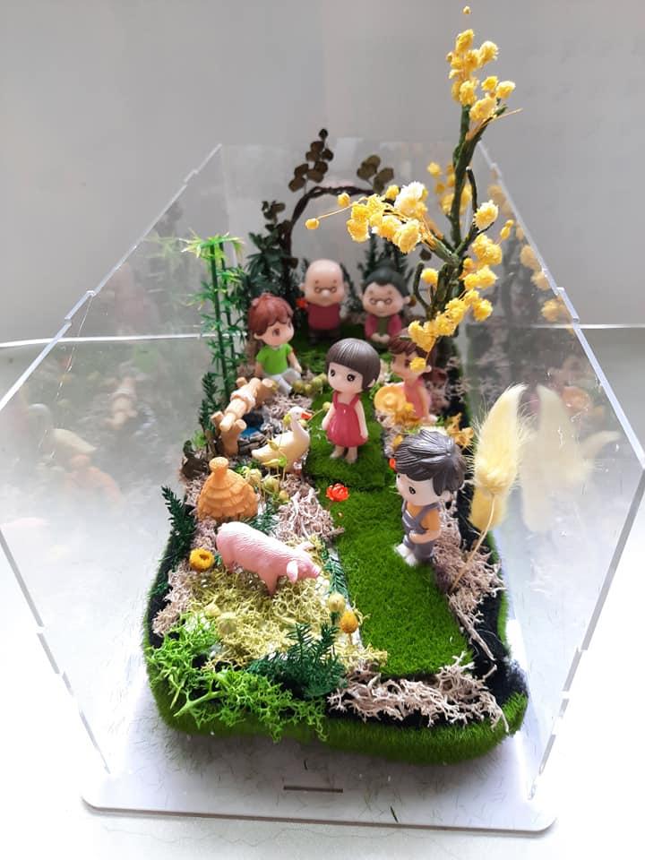 Tiểu cảnh hoa khô Về quê ăn Tết