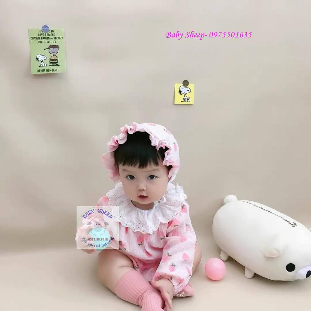 Hàng cao cấp Set body xô đũi dâu tây kèm mũ bèo tiểu thư xinh xắn cho bé gái diện đầy tháng thôi nôi chụp ảnh