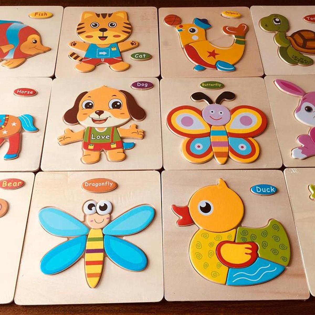 Đồ chơi cho bé làm quen với ghép hình - combo 10 tranh ghép 3D bằng gỗ MK004