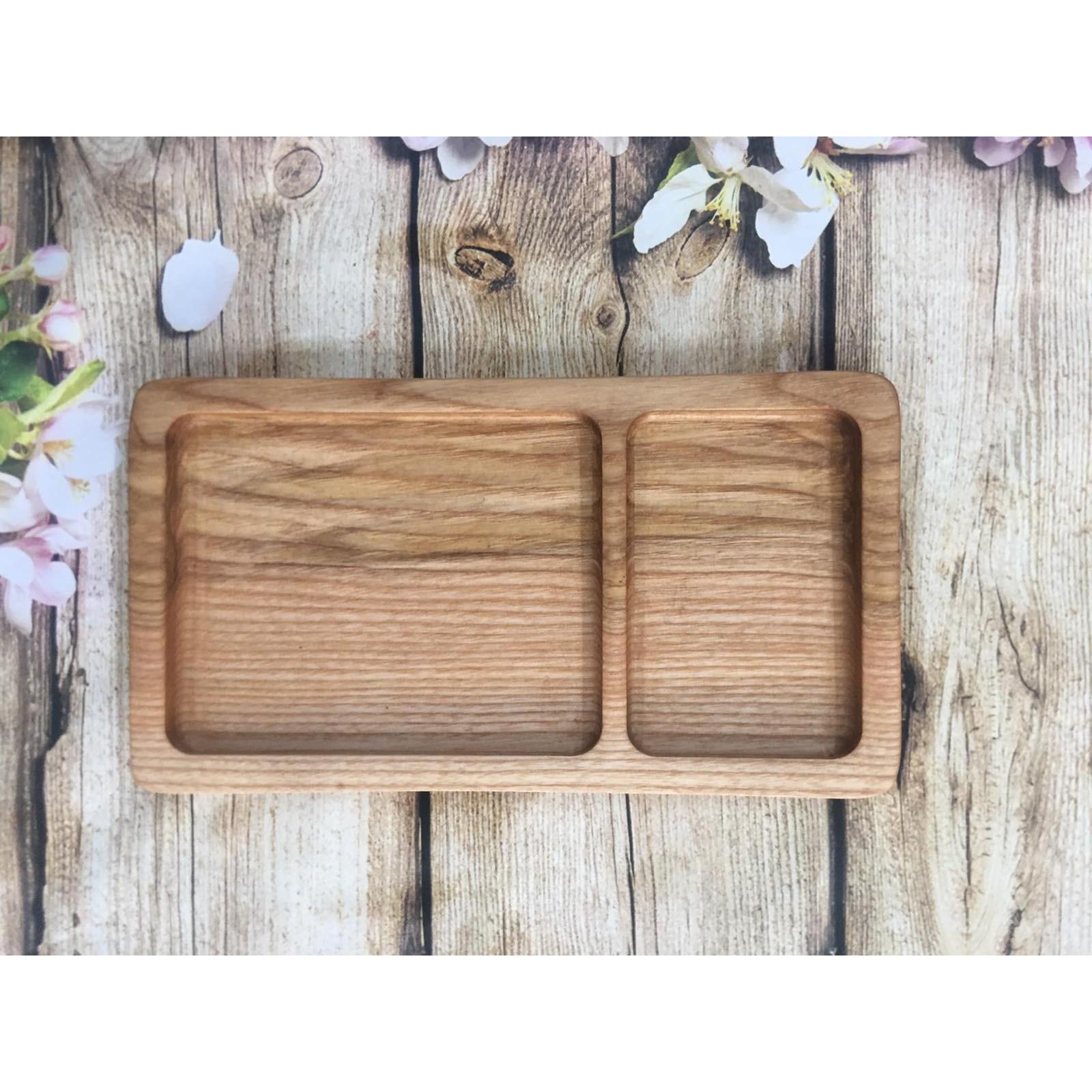 Khay gỗ decor, khay gỗ trang trí hình chữ nhật có 2 ngăn, khay đựng thực phẩm,