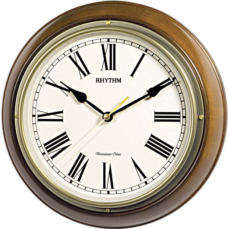 Đồng hồ treo tường Nhật Bản RHYTHM CMH723CR06, Kt 27.0 x 7.0cm, 860g, Vỏ Gỗ