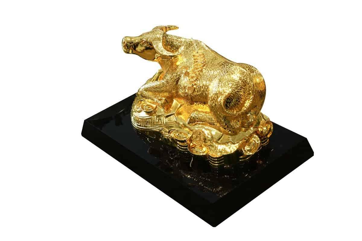Tượng trâu mạ vàng Kim Ngưu Đại Bảo (cỡ 23cm)
