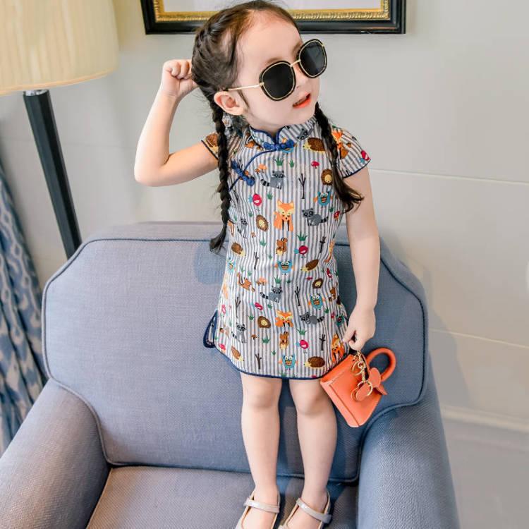 Váy công chúa sườn xám cổ tàu cho bé gái họa tiết từ 1 - 7 tuổi
