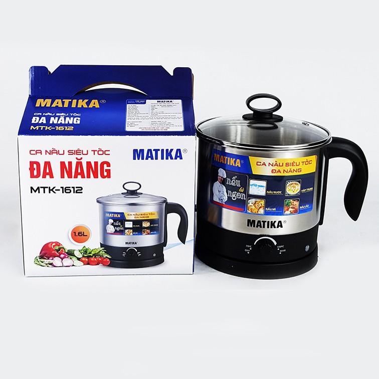 Ca nấu đa năng 600W, 1.6L, lòng inox 304 Matika MTK-1612 dùng để nấu mì, luộc trứng, nấu lẩu, thích hợp nấu ăn văn phòng-HÀng chính hãng