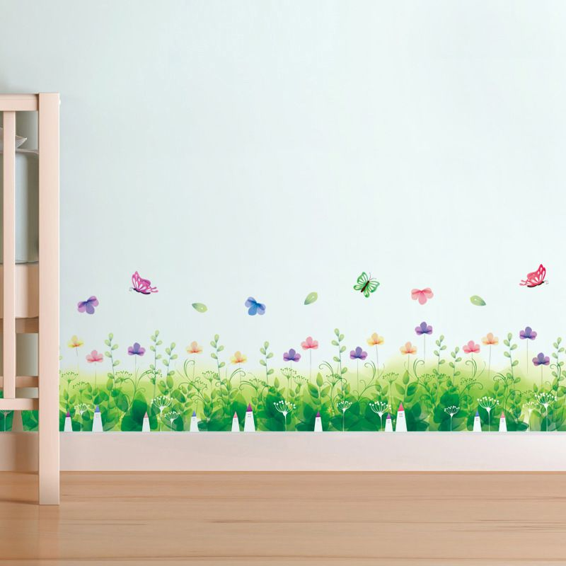 Decal chân tường Hoa cỏ xanh 2 AmyShop DCT030 - 2 bộ ( 33 x 270 cm )