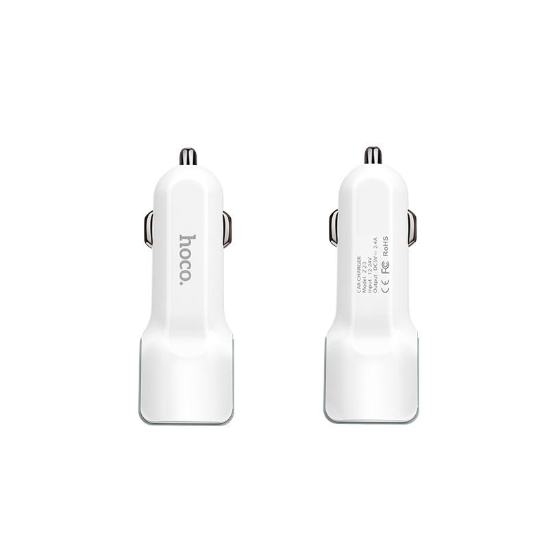 CÓC SẠC XE HƠI 2 CỔNG USB HOCO Z23 - MÀU TRẮNG - HÀNG CHÍNH HÃNG