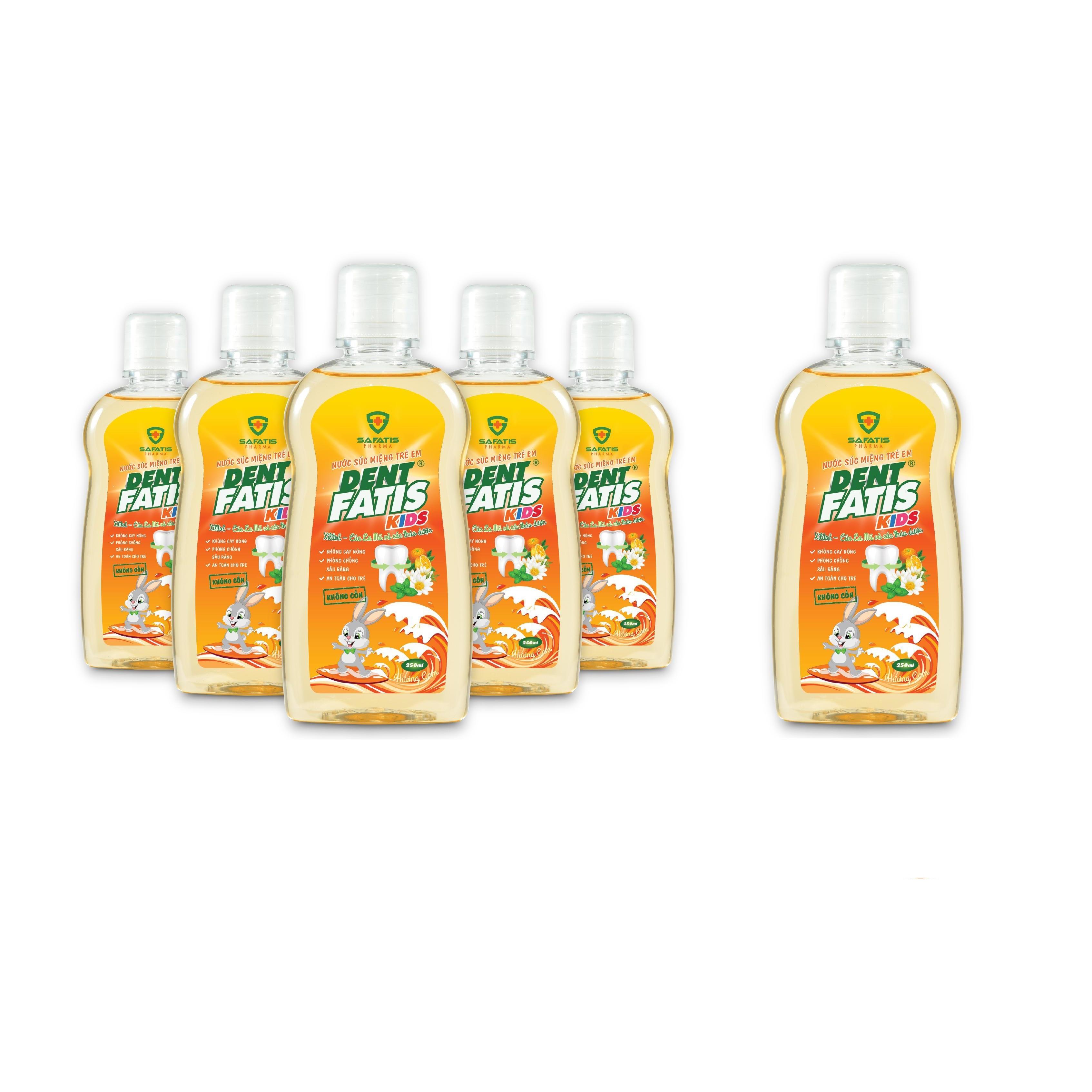 Combo 5 chai nước súc miệng trẻ em DentFatis Kids tặng kèm 01 chai nước súc miệng trẻ em DentFatis Kids