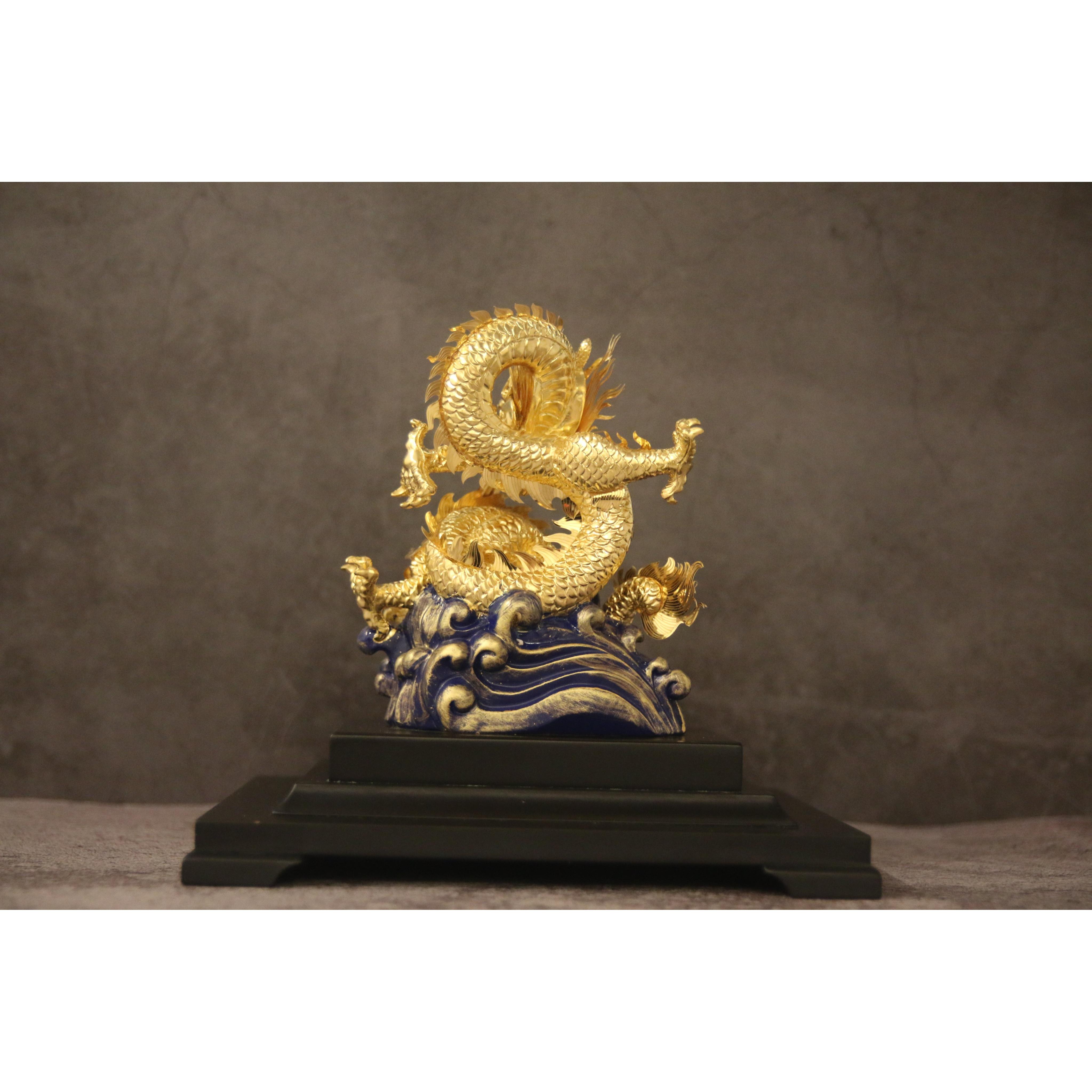 Tượng Rồng Nhả Ngọc Dát Vàng 24k - Quà tặng vàng ý nghĩa