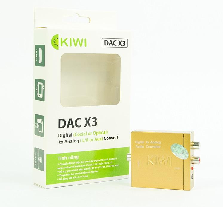 Bộ chuyển đổi âm thanh từ DIGITALl (Optical, Coaxial) sang ANALOG (L/R, Aux) KIWI DAC X3