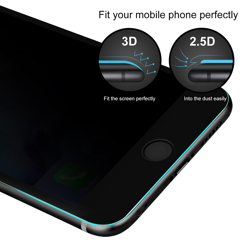 Miếng dán kính cường lực chống nhìn trộm Baseus Full cạnh vát mỏng 2.5D dành cho iPhone 6 Plus / 6s Plus (Đen) - Sản phẩm chính hãng