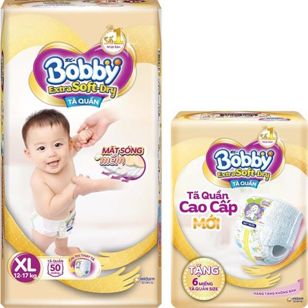 Tã Quần Bobby Extra Soft Dry XL50 Tặng 6 Miếng Tã Quần size XL
