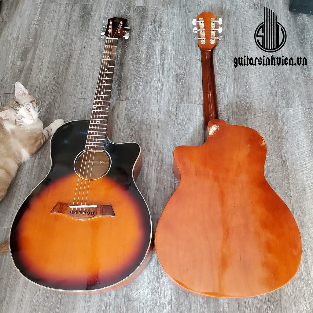 Đàn guitar acoustic SV1 có ty chống cong cho người mới - mặt gỗ thông tặng 6 phụ kiện - màu cam đen