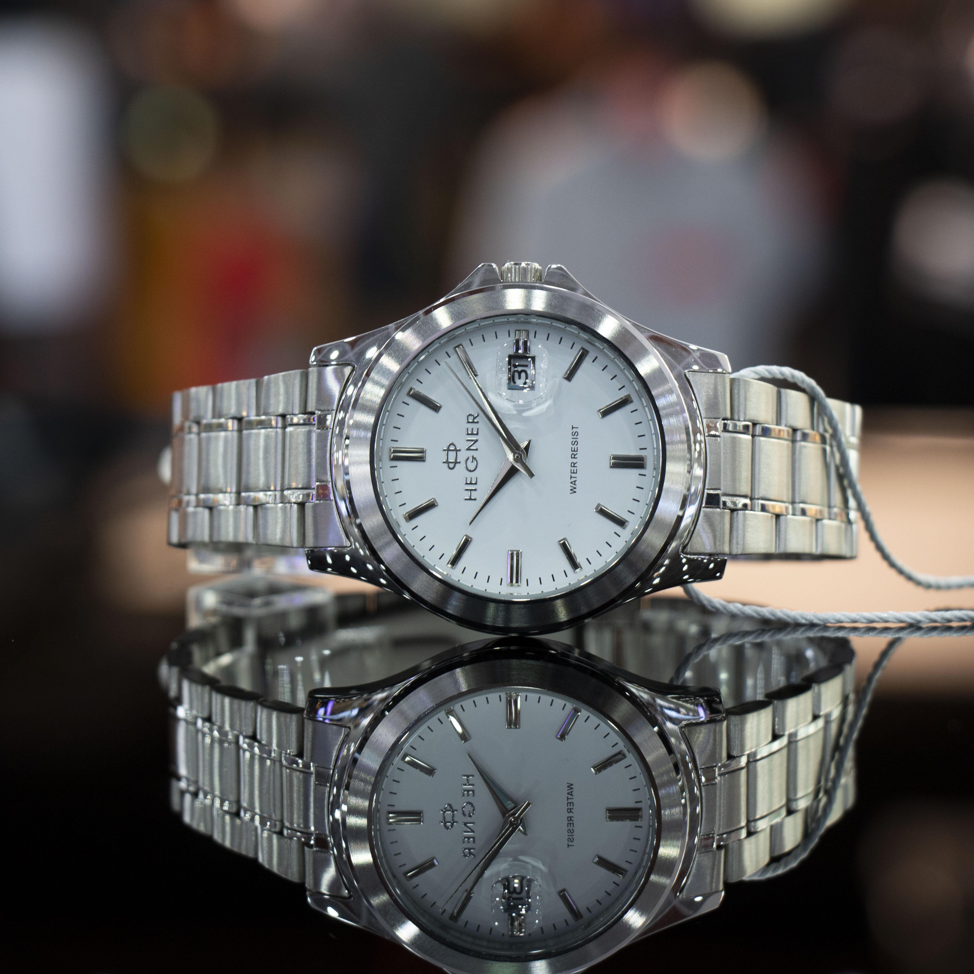 Đồng hồ nam dây thép Hegner HW-223 , Full box, Chống xước, Chống nước