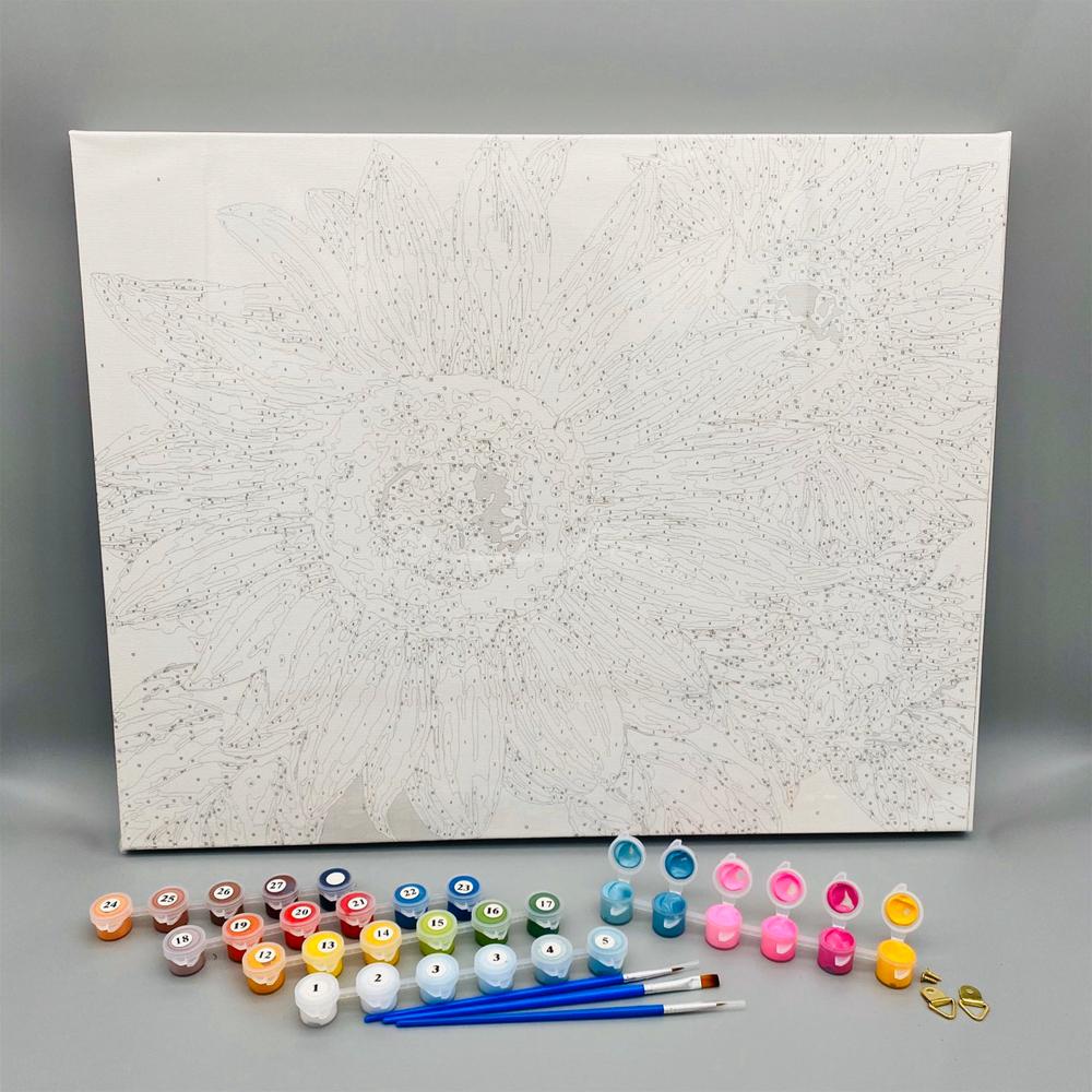 Tranh tô màu theo số sơn dầu số hóa tự vẽ mã BH0022E Lọ hoa cúc trắng