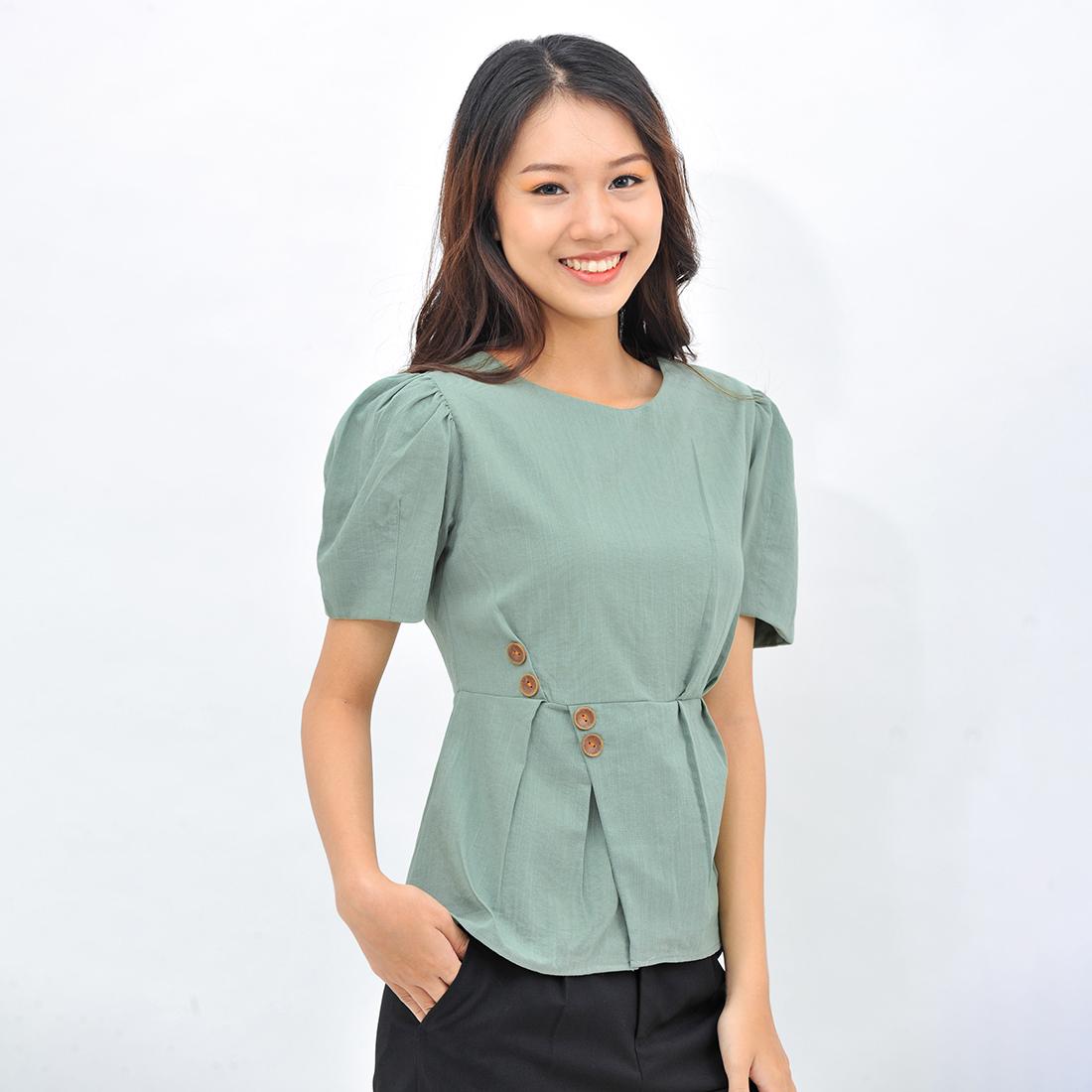 Áo kiểu nữ công sở thời trang Eden cổ tròn xếp li eo phối nút. Chất liệu mềm mại, không nhăn - ASM098