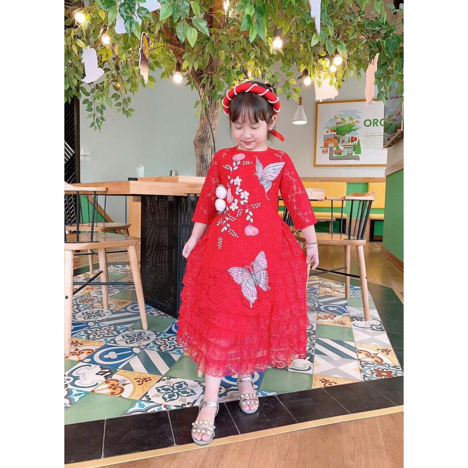 Áo dài ren thêu tay cao cấp cho bé gái màu đỏ
