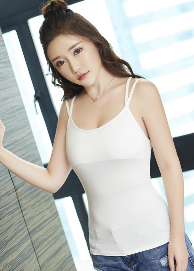 Áo 2 dây nữ kèm lót ngực phong cách Hàn Quốc thun coton co giãn freesize - Trắng