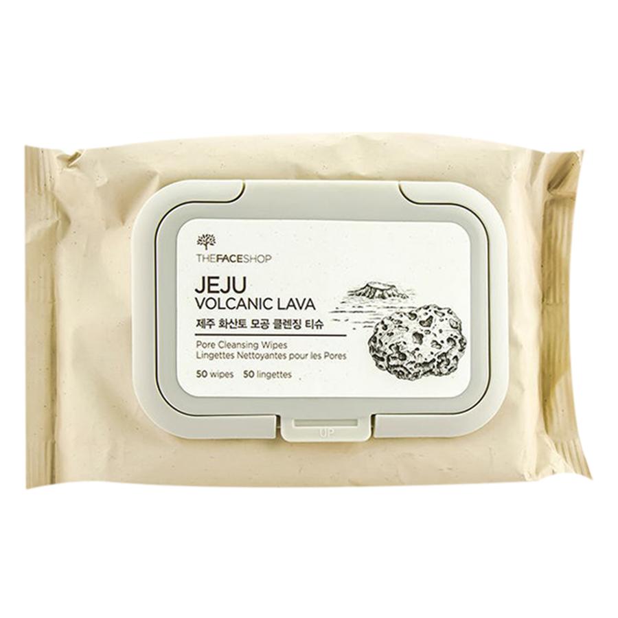 Khăn Giấy Tẩy Trang Thanh Lọc Lỗ Chân Lông The Face Shop Jeju Volcanic Lava Pore Cleansing Wipes (310.8g/10.9 OZ./50 WIPES/LINgE)