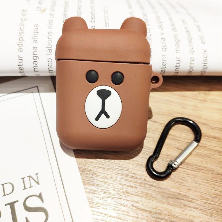 Airpods Case_Ốp Bảo Vệ Cho Airpods 1, Airpods 2 hình Gấu Line Nâu và Thỏ Trắng _Tặng Kèm Móc Khóa Dây Da