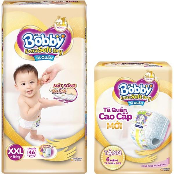 Tã Quần Bobby Extra Soft Dry XXL46 Tặng 6 Miếng Tã Quần size XXL