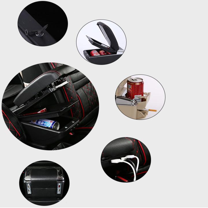 Hộp tỳ tay ô tô dành cho xe Mitsubishi Attrage và Mirage tích hợp 7 cổng USB (DUSB-ATG)