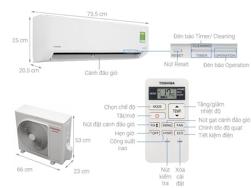 Máy lạnh Toshiba Inverter 1 HP RAS-H10X2KCVG-V (2020) - Hàng Chính Hãng
