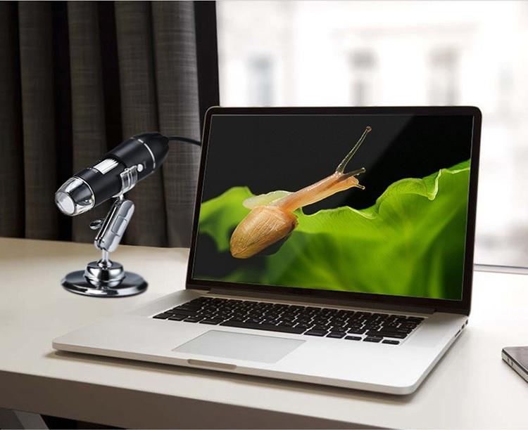 Kính hiển vi kỹ thuật số phóng đại 1600X siêu nét, chân thực, có 8 đèn LED+ giá đỡ đa năng cao cấp (Tặng bộ 6 con bướm dạ quang phát sáng)