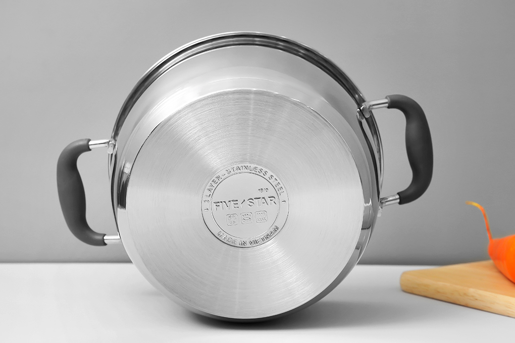 Nồi 3 đáy inox 430 Fivestar Standard quai silicon chống nóng nắp inox-sử dụng bếp từ-tặng 2 vá canh 24cm