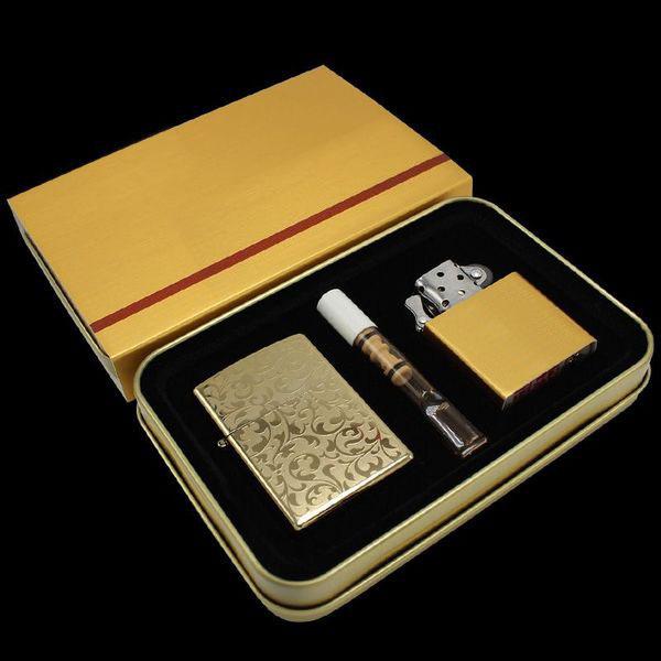Bộ bật lửa điện Z1 kèm tẩu lọc màu vàng và ruột bật lửa xăng