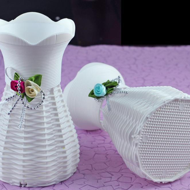 Giỏ hoa tròn Handmade giả mây trang trí