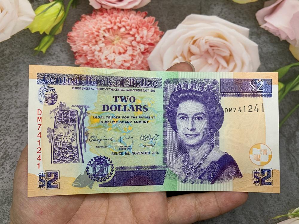 Tiền cổ Belize 2 Dollar , tiền quốc gia Trung Mỹ , mới 100% UNC, tặng túi nilon bảo quản